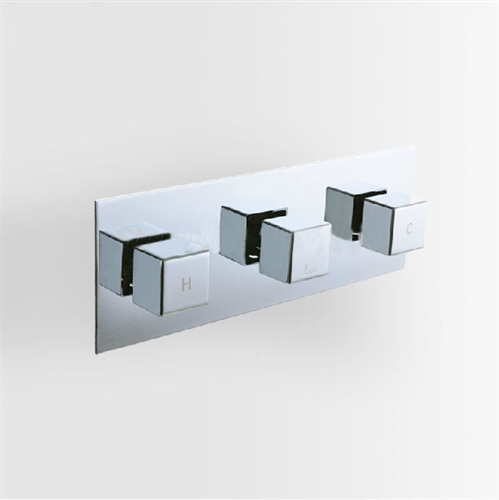 3 Dials 2 Ways Square Mixer Tap Chrome Brass Shower Valve Panel With ...