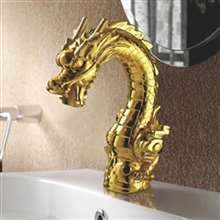 Umbria Water Dragon Deck Mounted single Rotation Handle Gold Finish Dragon Head Style Bathroom Faucet Basin Water Mixer Tap