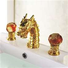 Golden Colour Handles Dragon Sink Faucet Widespread Lavatory Basin Mixer Tap 3 Pcs LB-69A019-3