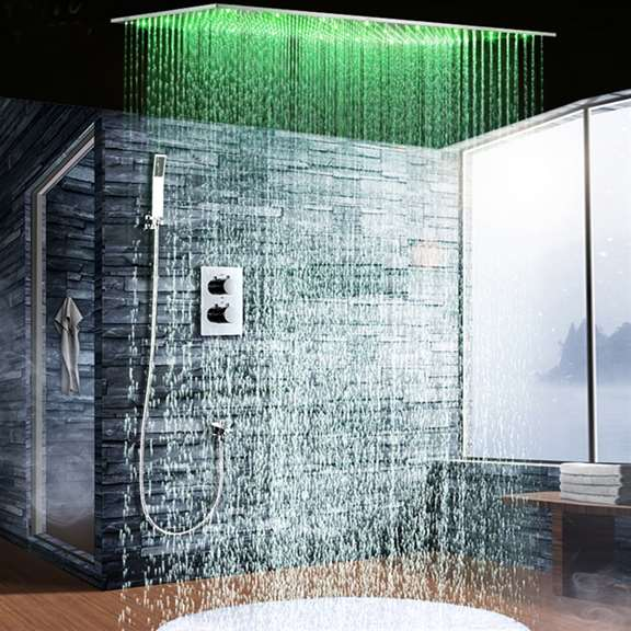 Sandino Thermostatic Ceiling Mount Rain Fall LED Shower Set