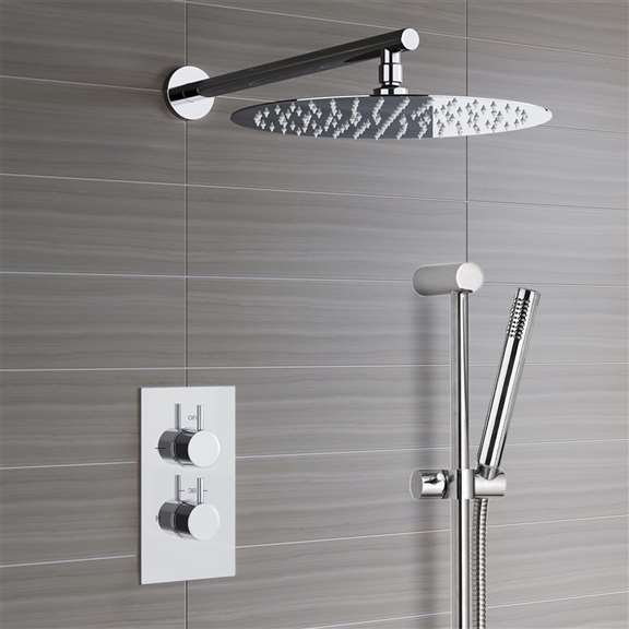 Shower Set Sale 583 Contemporary Showers Fontana Trialo Shower Set With Built In Thermostatic Mixing Valve And Hand Held At Fontanashowers Com