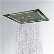 Luxury LED Embedded Ceiling Shower head 4 Functions Waterfall /Rainfall, Swirl and Mist