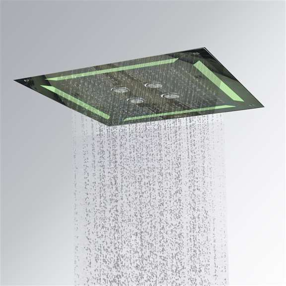 Luxury LED Embedded Ceiling Showerhead 4 Functions Waterfall and Rainfall and Swirl and Mist