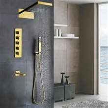 Fontana Mecca Designer Gold Finish Wall Mount Shower Set with Handheld Shower Head and Tub Faucet