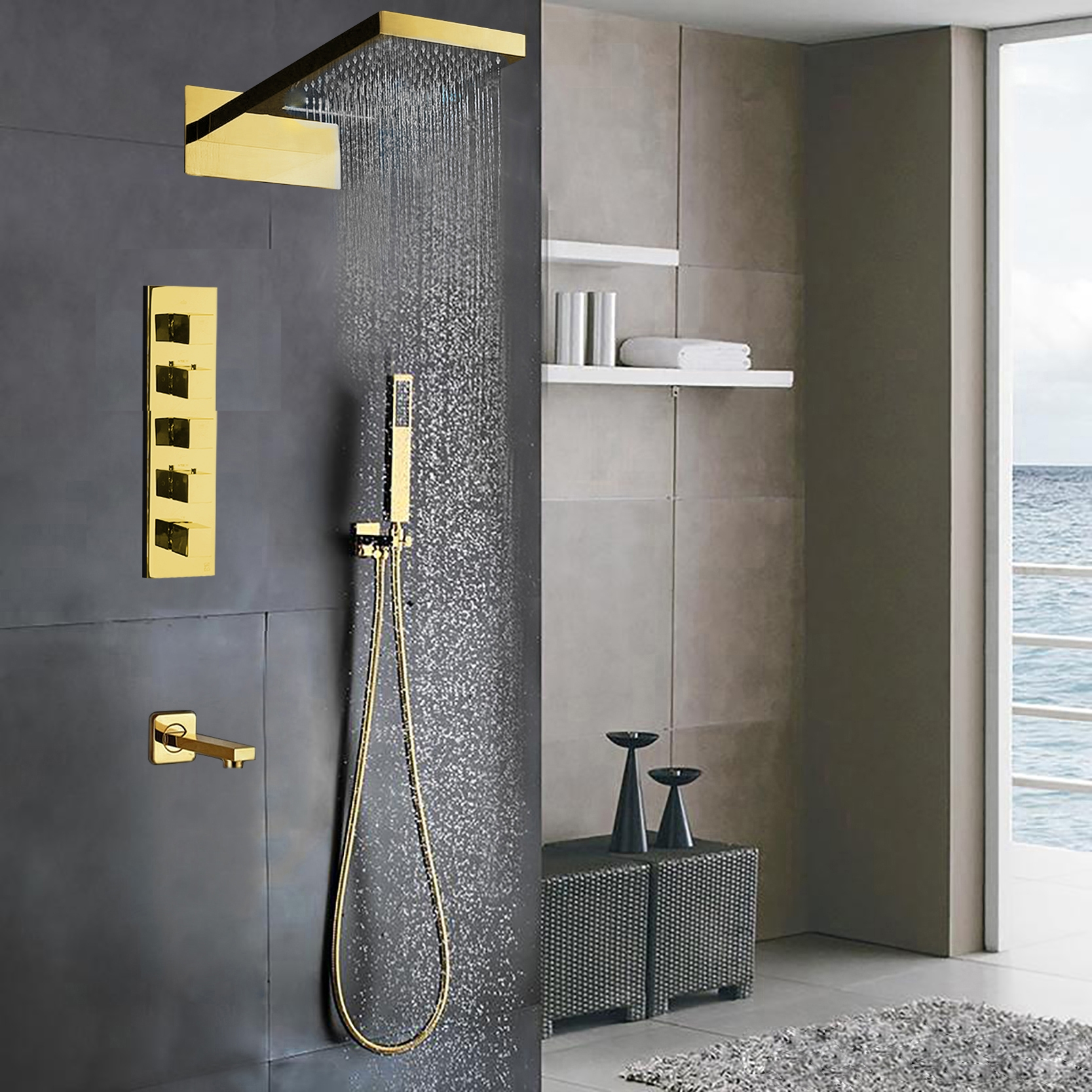 Designer Gold Finish Wall Mount Shower Set With Handheld Shower Head