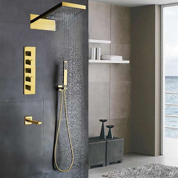 Designer Gold Finish Wall Mount Shower Set with Handheld Shower Head and Tub Faucet Spout