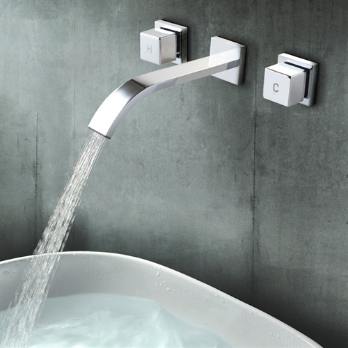 Polished Chrome Wall Faucet Bathroom Basin Faucet Wall Mounted Faucet  Bathroom Waterfall Faucet Water Tap Mixer Tap