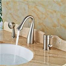 3pcs Single Handle Brushed Nickel Bathtub Faucet with Hand shower