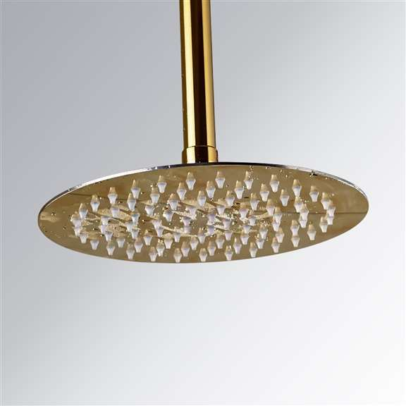 "Fontana Polished Gold Finish 10"" Round Rain Shower Head Ceiling Mounted"