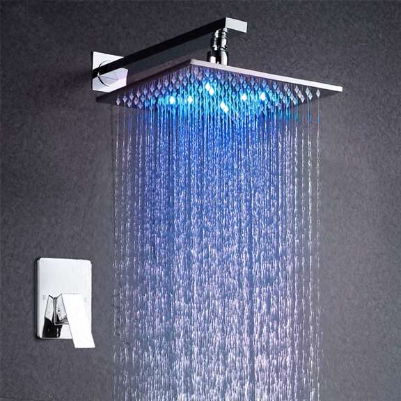 Amancio Wall Chrome Finish Mounted LED Shower Set