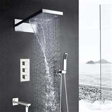 Wall Mount Waterfall Rainfall Chrome Finish Shower Head with Handheld Shower and Faucet Spout