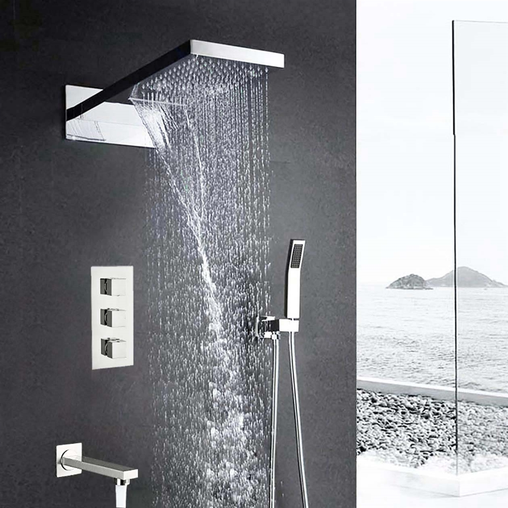 Florence Wall Mount Waterfall Rainfall Chrome Finish Shower Head With Handheld And Faucet Spout