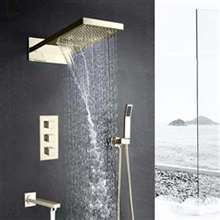 Florence Wall Mount Brushed Nickel Waterfall Rainfall Shower Set