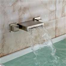 Sacramento Brushed Nickel Wall Mounted Double Handled Bathtub Faucet