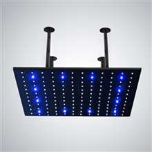 "Fontana 31"" Matte Black Square LED Rainfall Showerhead"
