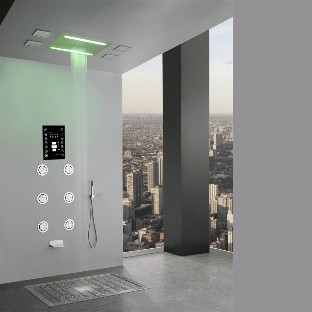 Super Luxury Recessed LED Large Waterfall Rainfall Shower System