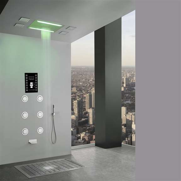 Super Luxury Recessed LED Large Waterfall Rainfall Shower System with 6 Body Jets and Hand Shower