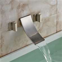 Morelia Double Handled Brushed Nickel Wall Mounted Bathtub Faucet