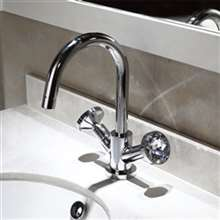 Bravat Deck Mount Dual Handle Bathroom Sink Faucet