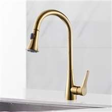 Mora Deck Mount Kitchen Gold Finish Sink Faucet with Pull Down Sprayer