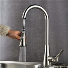 Mora Deck Mount Kitchen Brushed Nickel Finish Sink Faucet with Pull Down Sprayer