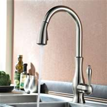 Moravia Deck Mounted Brushed Nickel Finish Kitchen Sink Faucet