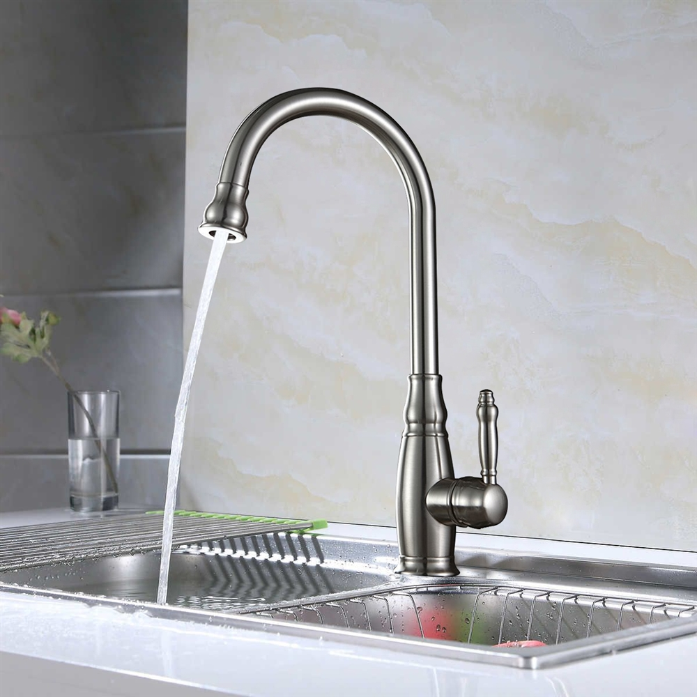 Turrubares Deck Mounted Brushed Nickel Kitchen Sink Faucet with Pull Down  Spray