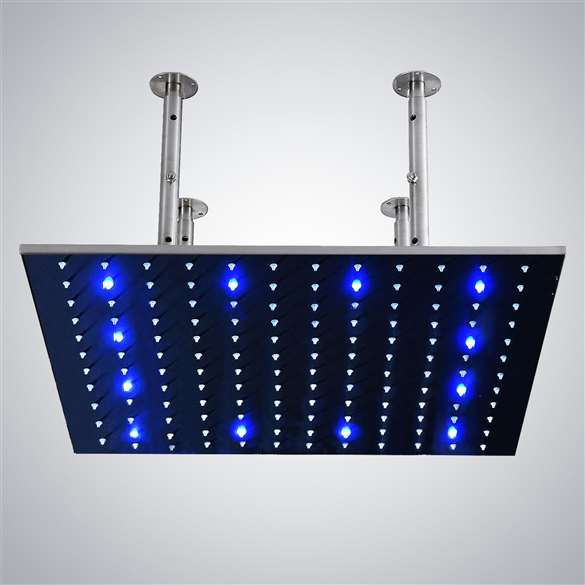 "40"" Stainless Steel square color changing LED rain shower head"