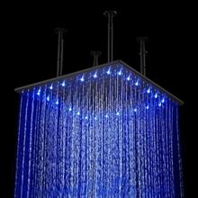 "40"" Matte Black Square LED Rain Shower Head"