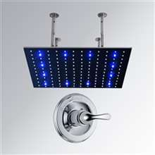 Stainless Steel square color changing LED rain shower head with Built in Mixer