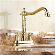 Bilbao Gold Plated Double Ceramic Handle Mixer Faucet