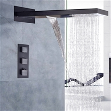Fontana Napoli Oil Rubbed Bronze Finish LED Waterfall Rain Shower Set