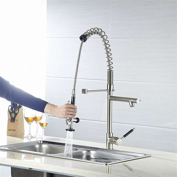 Grecia Deck Mount Single Handle Kitchen Sink Faucet with Pull Down Sprayer