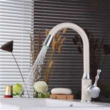 Atenas Deck Mounted Kitchen Sink Faucet with White & Chrome Finish