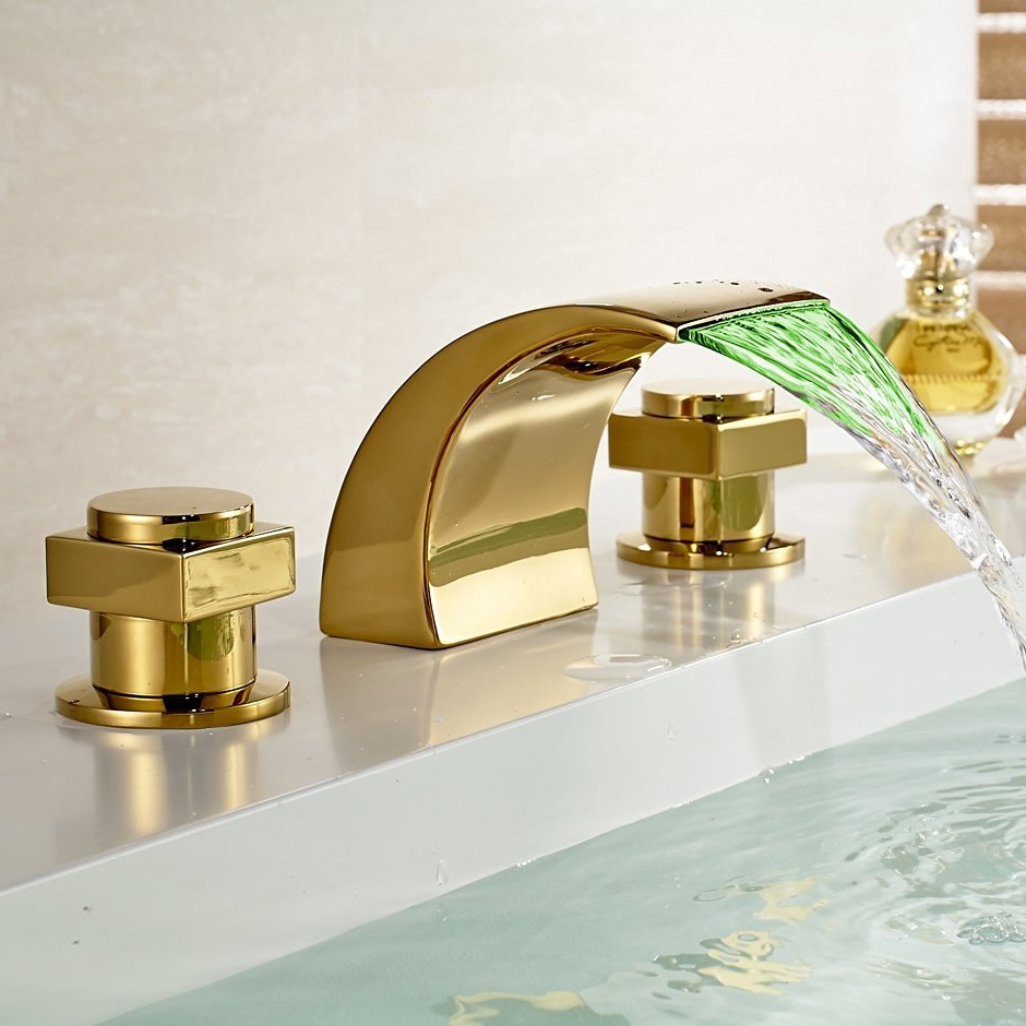 campinas gold polished led waterfall bathroom sink faucet