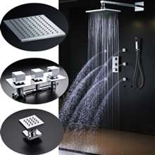 Lombardy Large Square Shower Head with Massage Jets