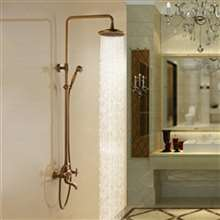 Aurelie Antique Brass Wall Mounted Shower Set