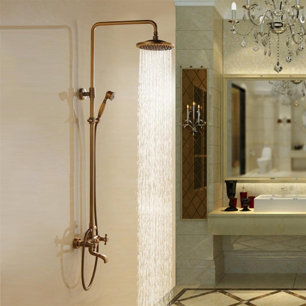 Aurélie Antique Brass Wall Mounted Shower Set