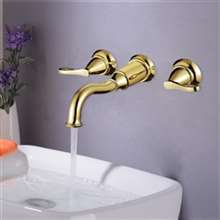 Ionia Gold Finish Bathroom Sink Faucet with Hot and Cold Water Mixer