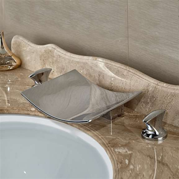 Valentina Deck Mounted Dual Handle Bathroom Sink Faucet