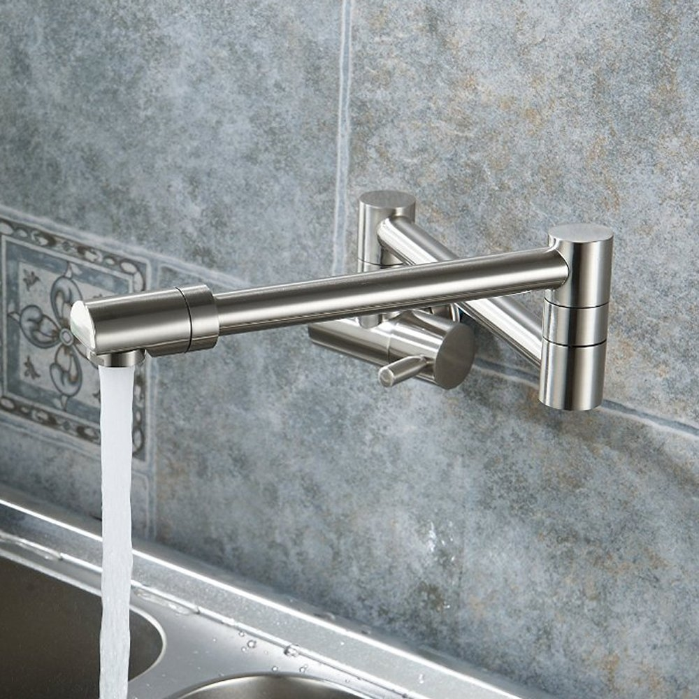Puriscal Double Joint Wall Mount Stainless Steel Kitchen Sink Faucet