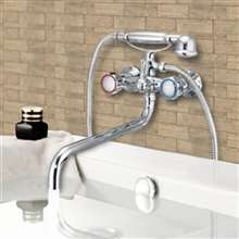 RV Travel Telephone Faucet Chrome Dual Handle with Hand-Shower