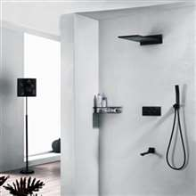 Fontana New Luxury Black Polished Shower head with Tub Spout and hand-Held Shower