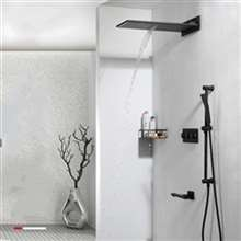 Fontana New Luxury Black Polished Shower Head with Tub Spout and Sliding Bar Hand-Held Shower