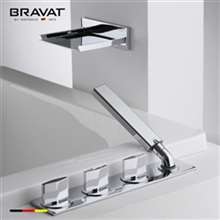 Bravat Beautiful Chrome Silver Deck Mount Bathtub Exposed Faucet  with Hand Shower