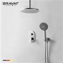 Bravat New Chrome Round Shower-head Ceiling Mount with Hand Shower