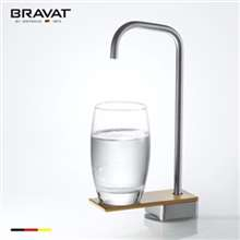 Bravat Stylish Long Neck Faucet Brush Nickel Deck Mount