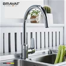 Bravat Stylish Chrome Faucet Single Handle Deck Kitchen Sink Faucet