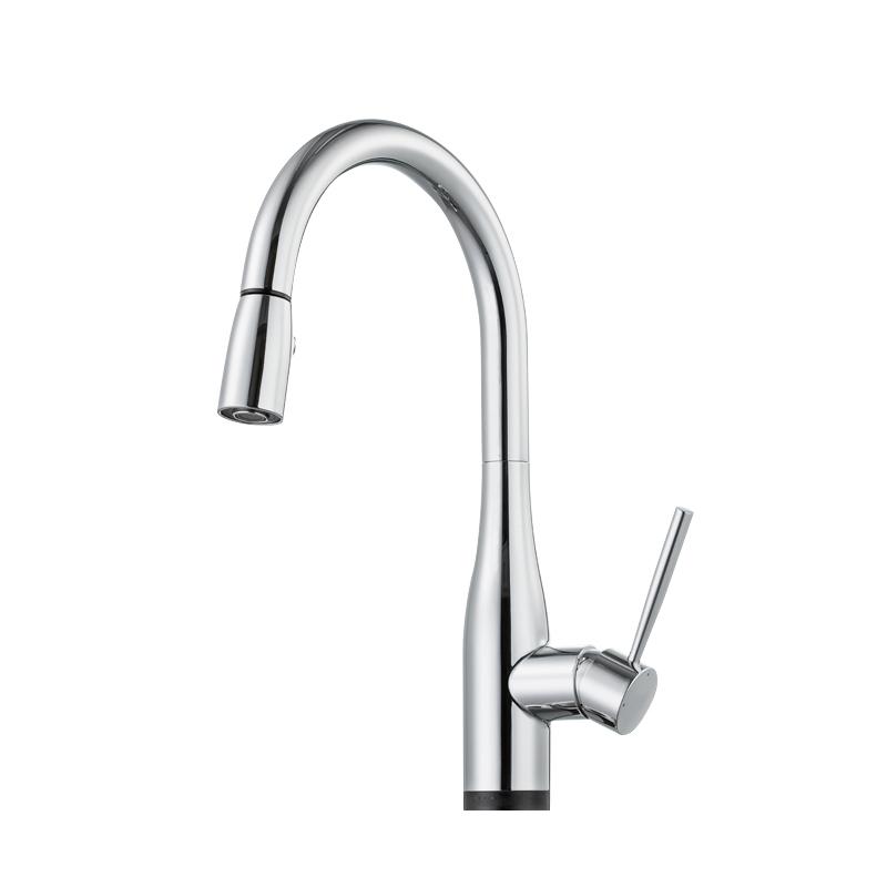 Bravat Stylish Pull-Out Faucet Chrome Deck Kitchen Sink Faucet