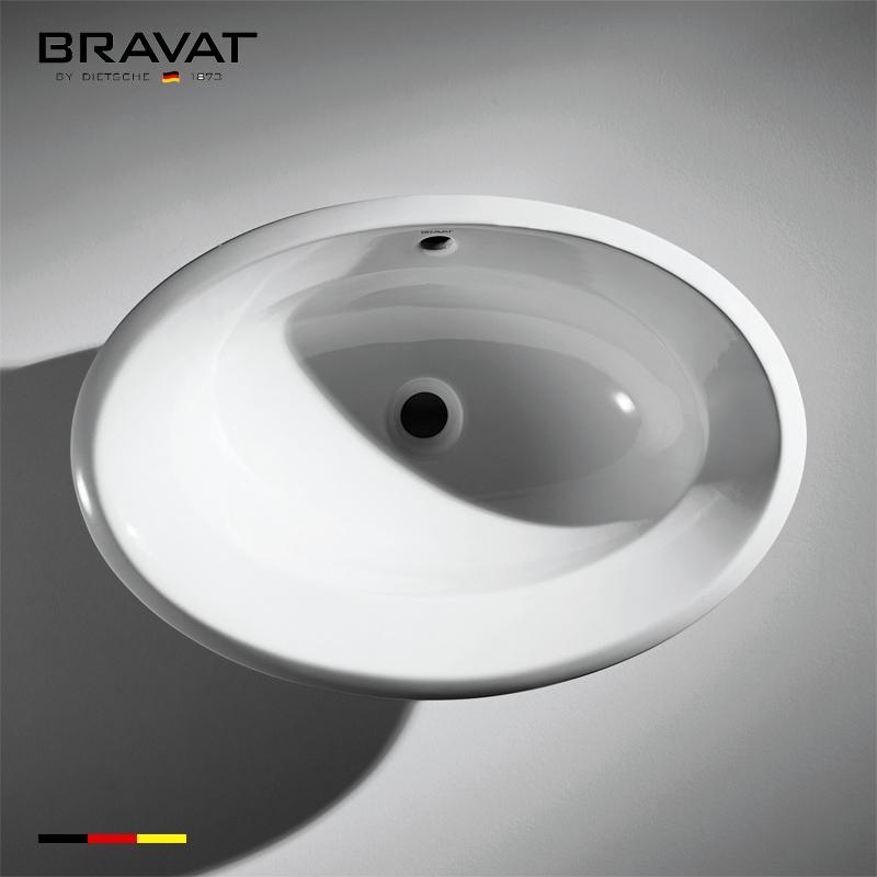 Bravat Amazing White Oval Vessel Sink Under-Mount